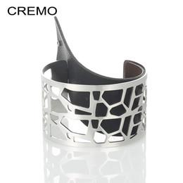 Giraffes bracelet online shopping - Giraffe Diy Hollow Wide Cuff Bracelet For Women Jewelry Cremo Stainless Steel Bracelets Bangles Reversible Leather Pulseiras Y19051002