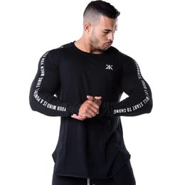 Wholesale Men Running Sports Long sleeve Shirts Gym Fitness Skinny t shirt Male Jogging Bodybuilding Training Tee Tops Crossfit Clothing