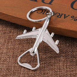 AircrAft plAne online shopping - Airplane Opener Aircraft Keychain Beer Openers Plane Shape Beer Opener Keyring Birthday Wedding Party Gift Airplane Keychain Openers GGA2522