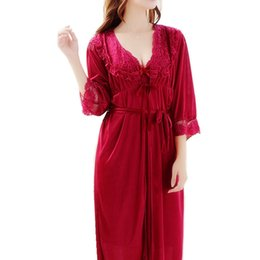 $enCountryForm.capitalKeyWord UK - Red Fashion Luxury Lace Satin Silk Robe & Gown Sets Two Pieces Bathrobe + Nightdress Bridesmaids Wedding Nightwear Set For Women Y19071901