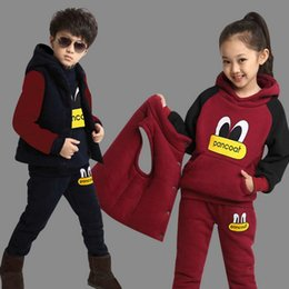 Wholesale New Boy Girls Winter Set Children s Clothing Child Sports Thick Fleece Hoodies Pants Vest Sets Boy Sweatshirts Casual