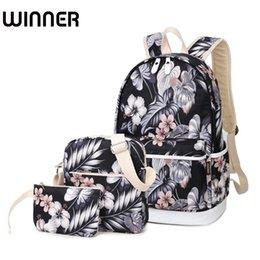 672131ea73ce 2019 FashionBrand Set Backpack Women Flower Printing Backpack Waterproof  Canvas Backbag School Bags for Teenagers Girls Laptop Rucksack