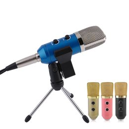 Free Audio Recording Australia - 1 Set Condenser Sound Recording Speaking Speech Microphone Independent Audio Card Free Microphone With Tripod MK-F100TL