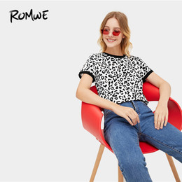 $enCountryForm.capitalKeyWord UK - Romwe Leopard Print Ringer Tee 2019 Basic All Matched Short Sleeve Stretchy Summer Tops Chic Women Black And White Shirts SH190629