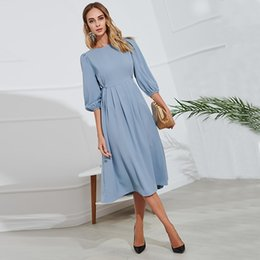 $enCountryForm.capitalKeyWord Australia - Blue Button Bandage Dress Women 2019 Spring Summer Half Sleeve Knee-Length Dresses Vestidos Elegant Office Lady Party