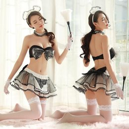 Discount adult uniforms Adult Women Sexy Maid Costume Black Bow Bra Skirt Porn Games Set Couples Erotic Role Play Cafe House Servant Uniform For