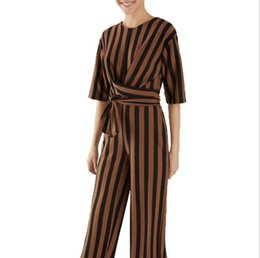 $enCountryForm.capitalKeyWord NZ - New Brand Elegant Office Lady Coffee Mid Sleeve Skinny Jumpsuit Spring Autumn Workwear bodysuit Women Jumpsuits with Sashes #c14