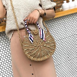 Straw Hands Bag Australia - Handmade Woven Straw Braided Circular Handbag Bags Natural Sketch Shoulder Messenger Beach Travel Vocation Storage Tote Hand Bag