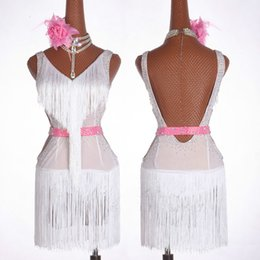 sequin fringe dance Australia - White Latin Dance Dress Women Salsa Dancewear Dance Costume Dresses Ballroom Competition Dresses Tango Adult Fringe Sequin