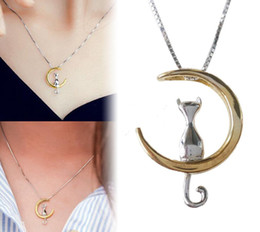 $enCountryForm.capitalKeyWord Australia - Fashion Cat Moon Pendant Necklace Charm Silver Gold Color Link Chain Necklace for Pet Lucky Jewelry Women Creative Friendship Gift