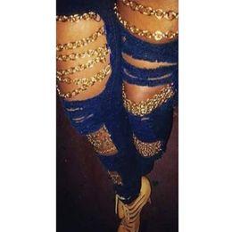 Rip Chains Australia - 2019 Summer Women Sexy Club Hole Ripped Jeans Fashion Bodycon Chain Jeans High Waist Pencil Pants
