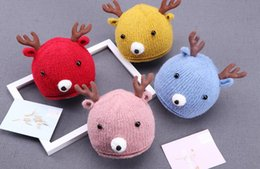 Blue Hats For Girls Australia - fashion Ins deer carton colorful cotton yarn knitted boy and girls kids hats handmade winter hats for 0-6M baby winter 5pcs lot
