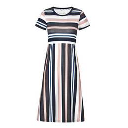 short stripped dress UK - Multi Colors Strip Print Girls Dress Slim Long Skirt Five Colors For Selection Comfortable And Fashion Model