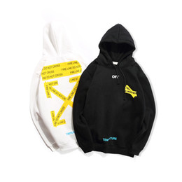 799bb1c0cb Off white black hOOdie online shopping - Winter S Basic Warning Line Guard  Clothes OW Couple