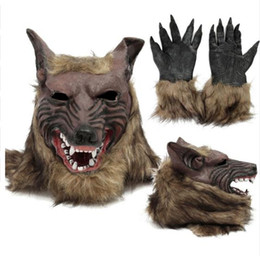 Glove Mask Australia - New Party Cosplay Latex Rubber Wolf Head Hair Mask Gloves, Unisex Novelty Animal Full Mask Halloween Role Play Fancy Dress Party Costume
