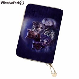 $enCountryForm.capitalKeyWord Australia - WHOSEPET Women Card Holder Wolf Print PU Leather Passport Cover Ladies Business Card Holders Travel Organizer Card Case