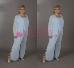 $enCountryForm.capitalKeyWord NZ - 2019 Light Sky Blue Chiffon Mother Of The Bride Suits Long Sleeve Floor Length Mother Of The Grooms Outfits Formal Evening Dresses