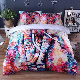 $enCountryForm.capitalKeyWord NZ - 3d Indian Elephant Printed Queen Comforter Sets Boho Bedding King Twin Size Luxury Bed Linen Duvet Cover Sheet Set Home Textiles