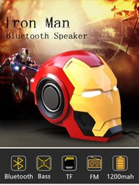Mobile phone Speakers Bluetooth V4.2 Iron Man Bluetooth Speaker Subwoofer With FM Radio Support TF Card For Phone PC Speaker from water proof for iphone suppliers