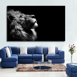 Black white framed posters online shopping - Large Size Black and White Lion Animal Canvas Print Poster Wall Pictures For Living Room Modern Decoration Painting No frame