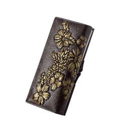 $enCountryForm.capitalKeyWord NZ - good quality Fashion Floral Carved Design Leather Wallet Women Genuine Leather Card Holder Wallet Female Long Design Lady Clutches