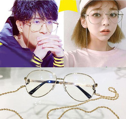 $enCountryForm.capitalKeyWord Australia - wholesale star style muti-color stripe temple frame with gold or silver chain vintage metal big-rim frame61-14-145younger glasses cheap