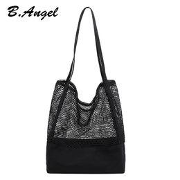 0c4bec35e3 Women's Simple Casual Open Canvas Fishing Net Large Capacity Shopping Bag  Fashion Shoulder Messenger Handbag Bag Hollow Beach Holiday Bags