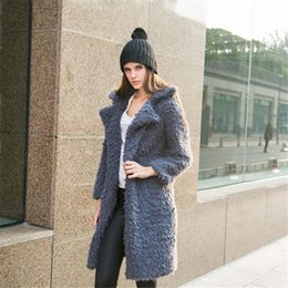 Wool Coating Australia - Fashion Women Trench Coats For Winter Women's Wool Overcoat Female Long Hooded Coat Outwear Solid Color Clothing Wholesale