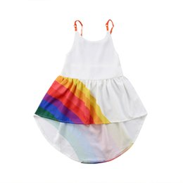 white dresses for girls casual Australia - Girls Beach Dress 2020 Summer Kids Baby Party Pageant Princess Vesdio Casual Tutu Dresses Rainbow Color For 2-6T Children