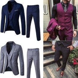 pure purple wedding dresses 2019 - ZOGAA Men Dress Suits 5XL 4XL 2019 Business Slim Fit Wedding Groom SuitS Pure Color 3 Piece of Plus Size Men Leisure che