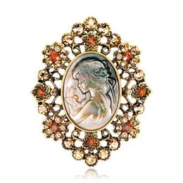$enCountryForm.capitalKeyWord UK - Women Brooches Retro Ancient Flower Romantic Abalone Pearl Shell Beauty Girl Head Rainstone Diamond Pins Brooch Dress Tie Suit Boutonniere