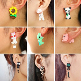 8e28ccacf New 100% Handmade Polymer Clay Animal Earrings Cute Cat Red Fox Lovely  Panda Squirrel Tiger Stud Earrings For Women Jewelry
