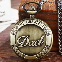 Quartz Box Australia - THE GREATEST DAD Quartz Pocket Watch Fob Chain Clock For Male Mens Daddy Birthday Father's Day Necklace Box reloj de bolsillo