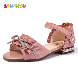Little Girls Leather Sandals Australia - Children Princess Shoes Girls Sandals Leather Soft Bottom Lace Kids Sandals Summer New Bow Rhinestone Little Girls Shoes
