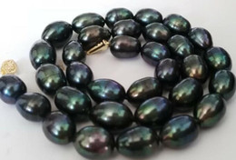 Stunning Necklaces Australia - stunning 12-13mm baroque black green pearl necklace 18inch 925silver