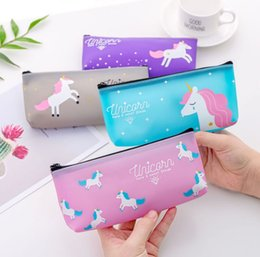 $enCountryForm.capitalKeyWord Australia - Dream Unicorn Pencil Case Creative Jelly PVC Starry Stationery Box Student Pencil Case Portable Cosmetic Bags & Cases