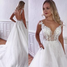 marvelous wedding dresses UK - 2020 V-neck Illusion Marvelous Wedding Dresses Appliques Lace Bridal Gowns Chapel-Train Beach Boho Wedding Party Dresses Vestido De Novia