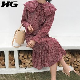 $enCountryForm.capitalKeyWord NZ - [HG] French Crowd Europe Fashion New Women 2019 Spring Peter Pan Collar Full Sleeve Button Print Mid-calf Loose Dress WBB1840