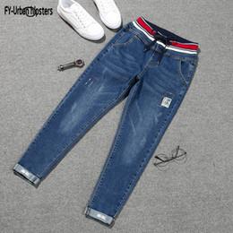 23 Patch Australia - Stretch Jeans pants 2019 nouveau plus size lace up jeans woman denim elastic Nine cropped patch harlan cuff pencil jeans