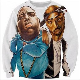 biggie smalls sweatshirt UK - Newest Fashion Mens Womans Biggie Smalls and 2pac Funny 3d Printing Unisex Sweatshirt Outfits Hoodies Plus Size AA068