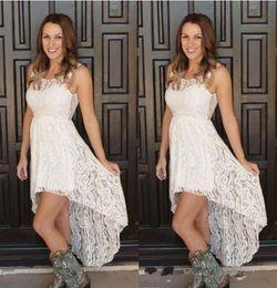 $enCountryForm.capitalKeyWord Australia - 2019 Cheap Simple Hi Lo Lace Wedding Dresses Sheer Neck Front Short Back Long Bohemian Beach Bridal Party Gowns Plus Size Custom Made