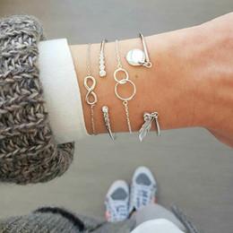 $enCountryForm.capitalKeyWord Australia - 4 Pcs  Set Retro 8 Word Leaves Hollow Round Crystal Silver Pendant Chain Opening Bracelet Set Women Fashion Party Accessories