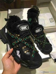 Flat Jewels Australia - Best QUALITY 1919GUCC1 BLACK Lo Flashtrek Removable Crystal Jewel Embellishment Chunky Ugly Rubber Sole Sneakers Shoes With ORIGINAL Box