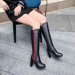 black blocks Canada - YMECHIC Winter 2019 High Block Heels Long Womens Riding Boots Black Gray Mid Calf Tall Heeled Botas Plus Size Ladies Shoes 43 42