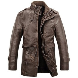 Mens Parka Leather Australia - Pu Leather Jacket Men Long Wool Standing Collar Leather Jackets Outdwear Trench Parkas Mens Leather Jackets And Coats