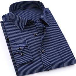Mens Linen Shirt Xl UK - Plus Large Size 8xl 7xl 6xl 5xl 4xl Mens Business Casual Long Sleeved Shirt Classic Striped Male Social Dress Shirts Purple Blue