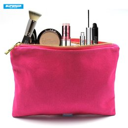 Blank Canvas Cosmetic Bags Australia - Solid Colors 100% Cotton Canvas Cosmetic Bag Blank Makeup Bag With High Quality Golden Metal Zip Have 8 Colors Match Gold Lining & Zipper
