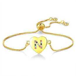 $enCountryForm.capitalKeyWord Australia - New Arrival Design Heart Shape Zircon Inset N-Z Alphabet Pendant Charm Link Bracelet for Girls Pulling Out Clasp Size Adjustable