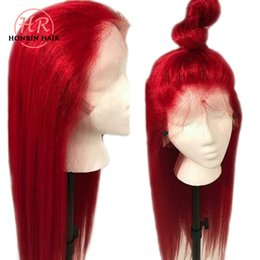 virgin red lace front wig 2019 - Honrin Hair Color Red 360 Lace Wig Silky Straight Brazilian Virgin Human Hair Full Lace Wig 150% Density Pre Plucked Wit