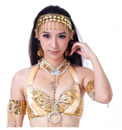 $enCountryForm.capitalKeyWord Australia - Women Belly Dance Dancing Coins Gypsy Headband Head Band Head Chain Belly Dance costume Golden Coin Clips Wholesale 10pcs lot